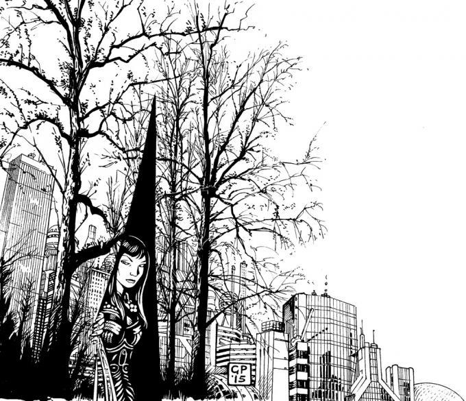 """Illustrazione di Giacomo Pueroni perracconto """"Tu non esisti"""" pubblicato sulla rivista Robot n. 74."""