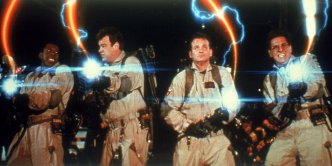 Ernie Hudson, Dan Aykroyd, Bill Murray e Harold Ramis in Ghostbusters