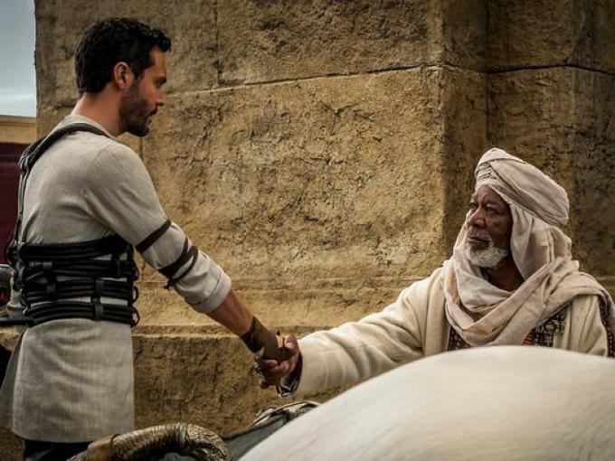 Jack Huston e Morgan Freeman in Ben-Hur