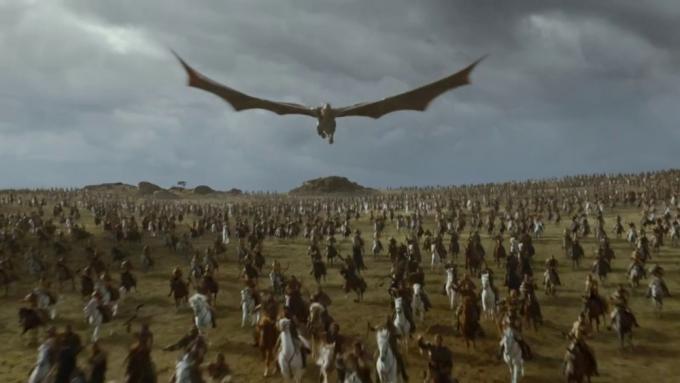 Drogon in volo in Il trono di spade