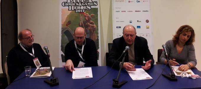 Renato Genovese, Giovanni Russo, il Sindaco Alessandro Tambellini e l'Assessore Serena Mammini a Lucca Comics & Games