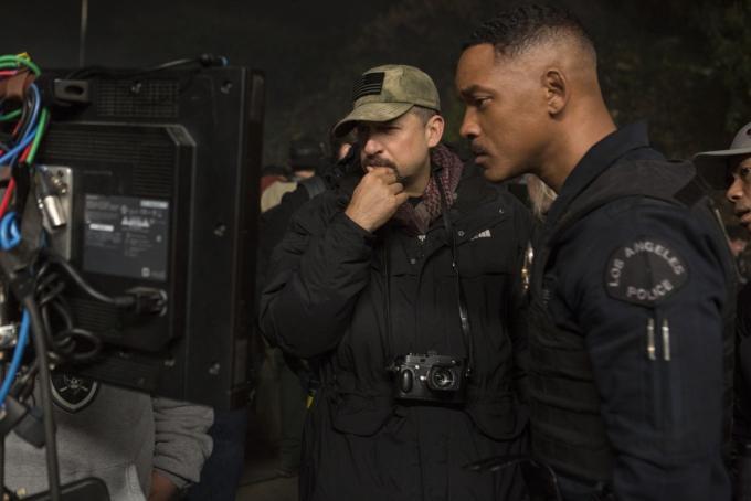 David Ayer e Will Smith sul set di Bright