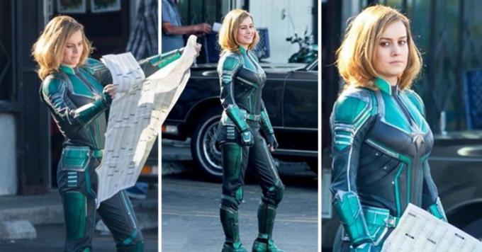 Brie Larson sul set di Captain Marvel