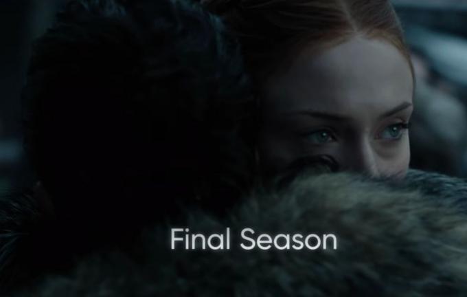 Sophie Turner nell'ottava stagione di Il trono di spade.