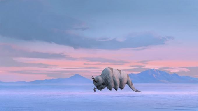 Aang e il suo bisonte volante Appa in un'immagine diJohn Staub.