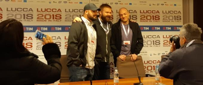 Robert Kirkman, Ryan Ottley e Cory Walker al PressCafé a Lucca Comics & Games 2018