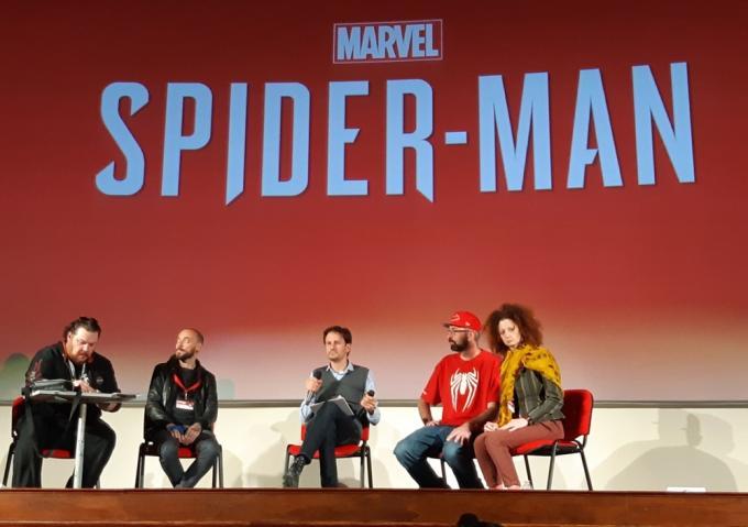 L'incontro su Marvel's Spider-Man a Lucca Comics & Games. Da sinistra a destra: Marco Checchetto, Jacopo Camagni, Emanuele Vietina e Christian Cameron