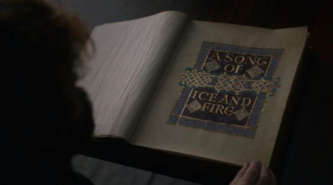 Il volume delle Cronache del Ghiaccio e del Fuoco apparso nell'episodio finale di Game of Thrones.