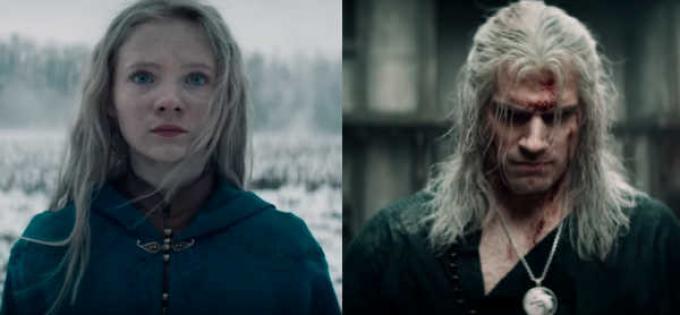 Freya Allan (Ciri) e Henry Cavill (Geralt)