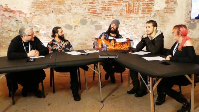 RPG Night Live Special Dungeons & Dragons a Lucca Comics & Games. Da sinistra: Andrea Fornasiero, Mattia Ceniti, Nicola Degobbis, Gianandrea Muià e Gaia Giselle.