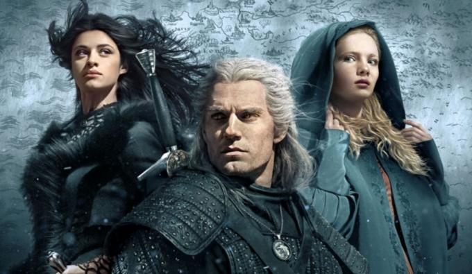 Henry Cavill (Geralt di Rivia), Anya Chalotra (Yennefer) e Freya Allan (Ciri), protagonisti di The Witcher di Netflix.
