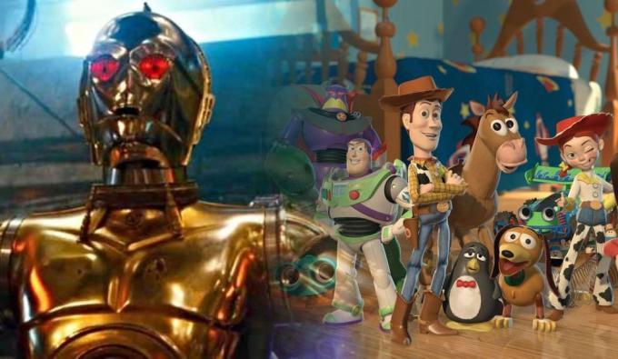 Un fotogramma da Star Wars: L'ascesa di Skywalker e un'immagine promozionale di Toy Story 2.