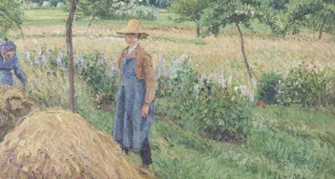 Camille Pisarro - Gardener standing by a Haystack, overcast sky, Eragny - 1899