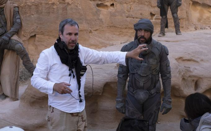 Denis Villeneuve e Javier Bardem (Stilgar) sul set di Dune