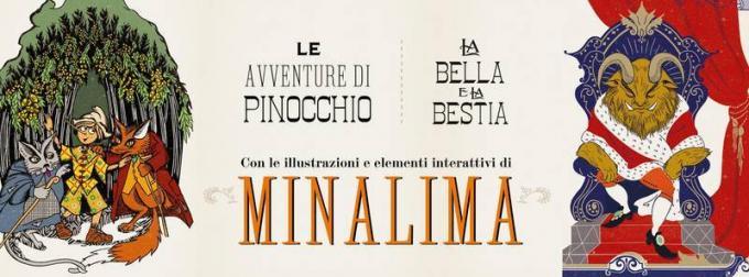 Le avventure di Pinocchio e La bella e la bestia con le illustrazioni di Minalima per Ippocampo edizioni