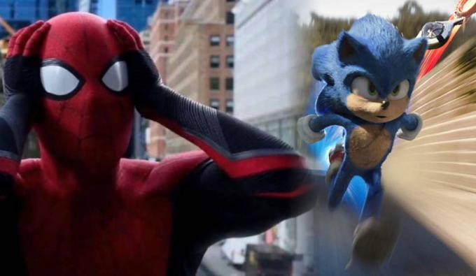 Fotogrammi tratti da Spider-Man: Far from home (2019) e Sonic the Hedgehog (2020).