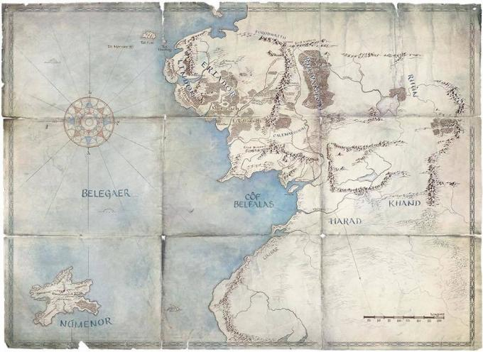 La mappa della serie The Lord of The Rings - Fonte Amazon