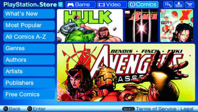 Una schermata del menu dei Digital Comics