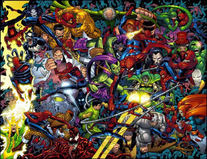 Personaggi di Spider-Man. Disegno di John Romita Jr.