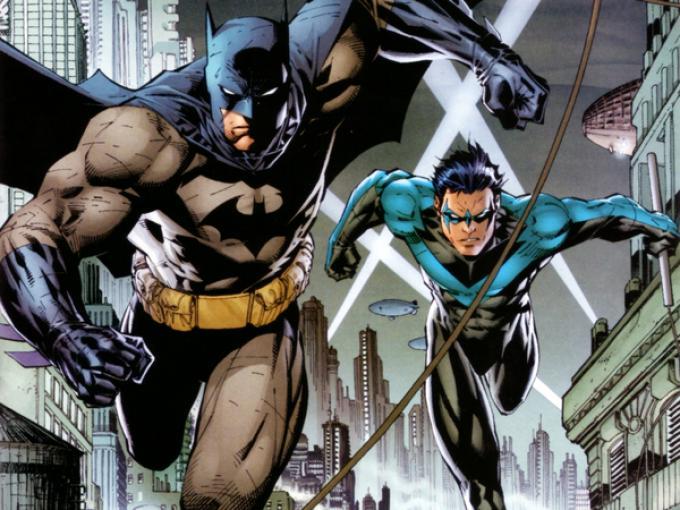Batman e Nightwing in una tavola di Jim Lee