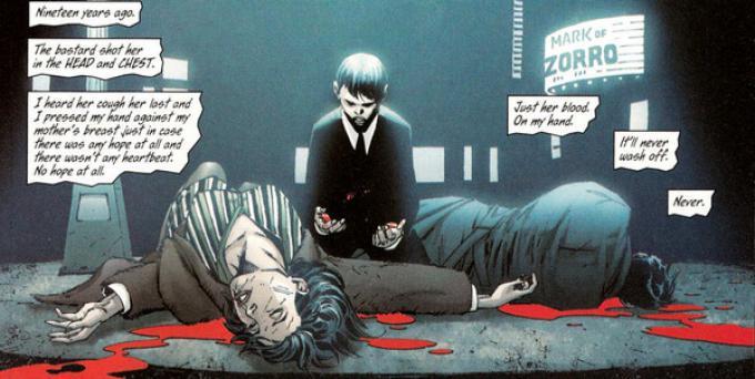 Il piccolo Bruce assiste impotente alla morte dei propri genitori in una tavola tratta da All Star Batman & Robin #4 (aprile 2006) di Jim Lee (disegni) e Frank Miller (testi)