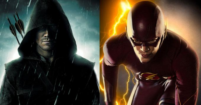 Arrow (Stephen Amell, a sinistra) e Flash (Grant Gustin, a destra)