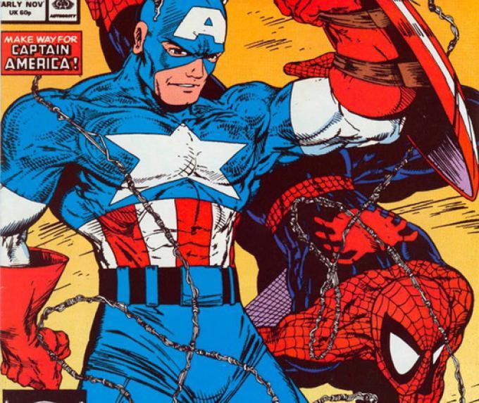 Capitan America e Spider-Man in un disegno di Todd McFarlane