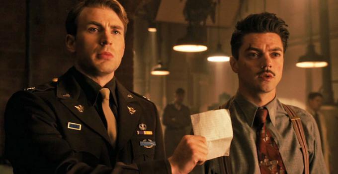 Dominic Cooper nei panni di Stark senior accanto a Capitan America