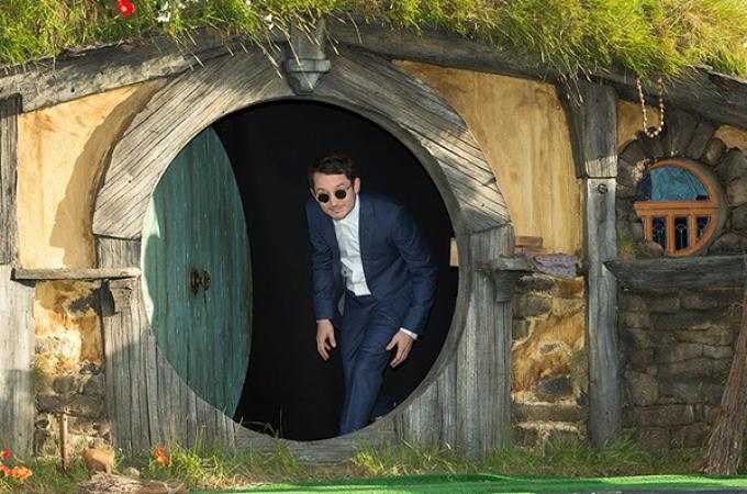 Elijah Wood all'anteprima mondiale de Lo Hobbit: un viaggio inaspettato, a Wellington