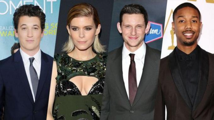 Il cast di The Fantastic Four. Da sinistra: Miles Teller (Mr. Fantastic), Kate Mara (La Donna Invisibile), Jamie Bell (La Cosa), Michael B. Jordan (La Torcia Umana)