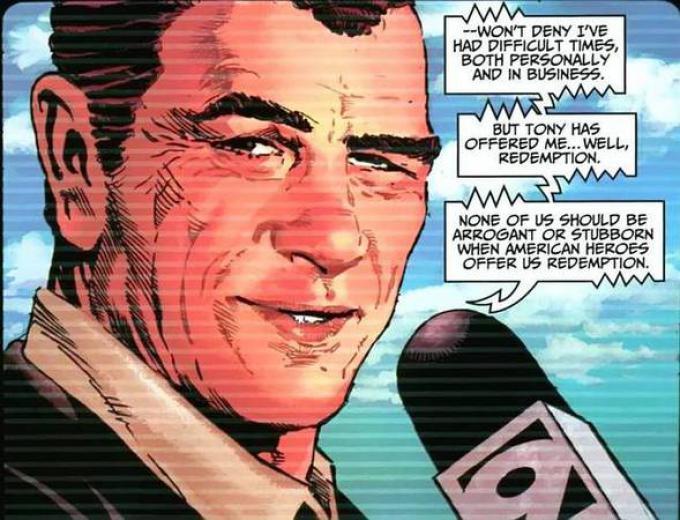 Norman Osborn ritratto con il volto di Tommy Lee Jones in Thunderbolts, disegno di Mike Deodato Jr.
