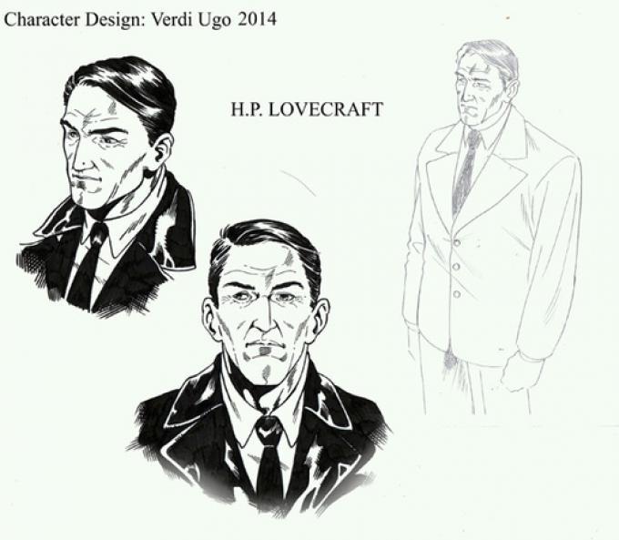 H.P. Lovecraft in un disegno di Ugo Verdi