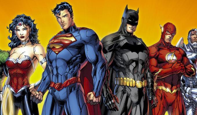 Wonder Woman, Superman, Batman e Flash in un'illustrazione di Jim Lee