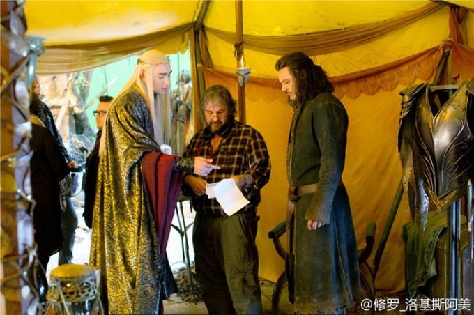 Lee Pace, Peter Jackson e Luke Evans sul set di Lo Hobbit: la battaglia delle cinque armate