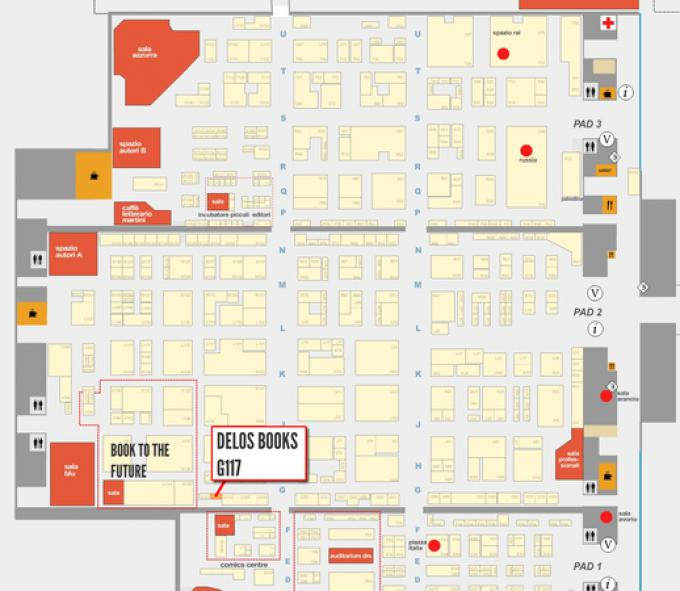 La cartina che mostra lo stand Delos Books (G117). Cliccate sulla lente per ingrandirla e vederla meglio.