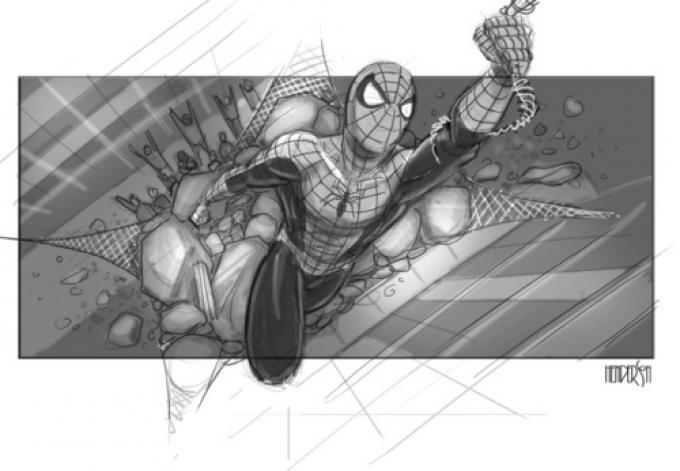 Una immagine dallo storyboard di Spider-Man 4.  ©2013 Jefrey Henderson