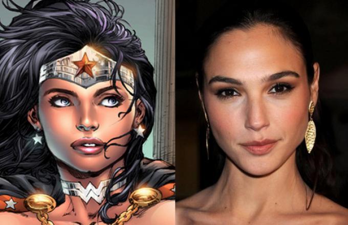 Wonder Woman (illustrata da Ed Benes) e Gal Gadot