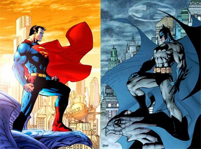 Superman e Batman in un'illustrazione di Jim Lee