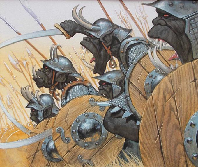 1 Brian Snoddy, USA, Orc-Warriors, acrilico su cartoncino, 18x22, 1995