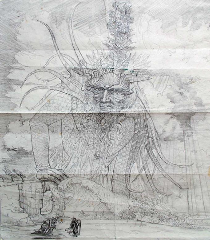 2 Roger Garland, UK, Ulmo Lord of Waters, matita su carta, 28x26 cm, 1982
