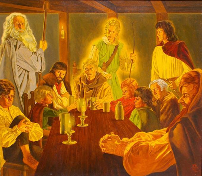 5 Peter Caras, USA, The Council of Elrond, olio su cartone, 43x49, 1979