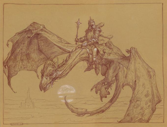 6 Donato Giancola, USA, Nazgul on FellBeast, matite acquerellabili e chalk su carta colorata, 47x64 cm, 2009