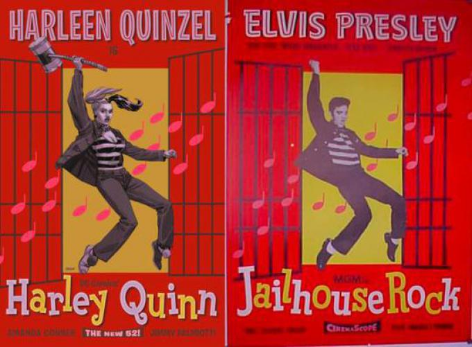 HARLEY QUINN #16 ispirata a IL DELINQUENTE DEL ROCK AND ROLL (JAILHOUSE ROCK), disegno di Dave Johnson