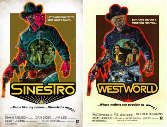 SINESTRO #11 ispirata a IL MONDO DEI ROBOT (WESTWORLD), disegno di Dave Johnson
