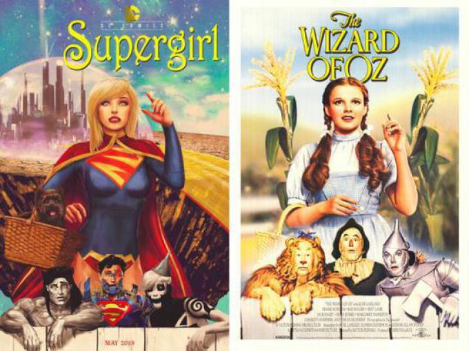SUPERGIRL #40 ispirata a IL MAGO DI OZ (WIZARD OF OZ), disegno di Marco D'Alphonso
