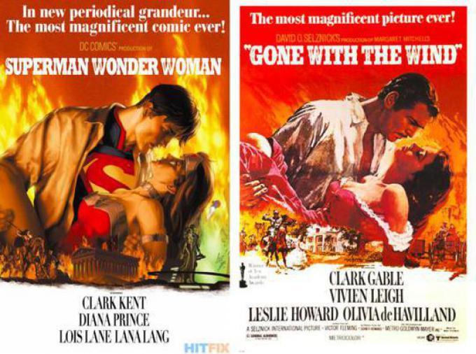 SUPERMAN/WONDER WOMAN #17 ispirata a VIA COL VENTO (GONE WITH THE WIND), disegno di Gene Ha