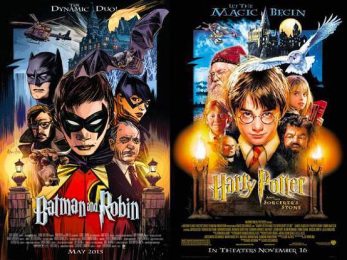 BATMAN & ROBIN #40 ispirata a (HARRY POTTER E LA PIETRA FILOSOFALE) HARRY POTTER AND THE SORCERER'S STONE, disegno di Tommy Lee Edwards