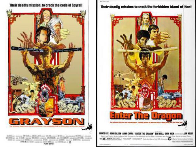 GRAYSON #8 ispirata a (I 3 DELL'OPERAZIONE DRAGO) ENTER THE DRAGON, disegno di Bill Sienkiewicz