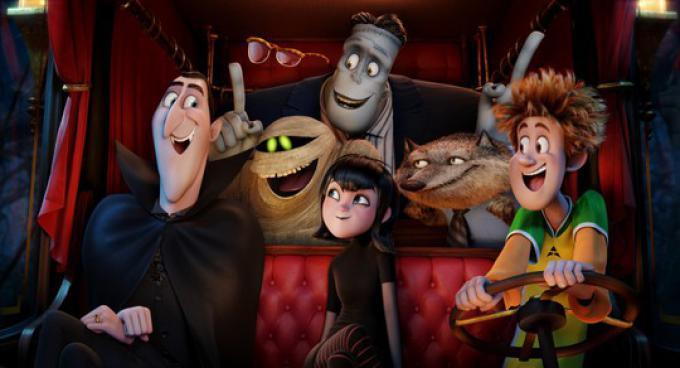 Dracula (Adam Sandler), Griffin the Invisible Man (David Spade), Murray the Mummy, Frank (Kevin James), Mavis (Selena Gomez), Wayne (Steve Buscemi) and Johnny (Andy Samberg)