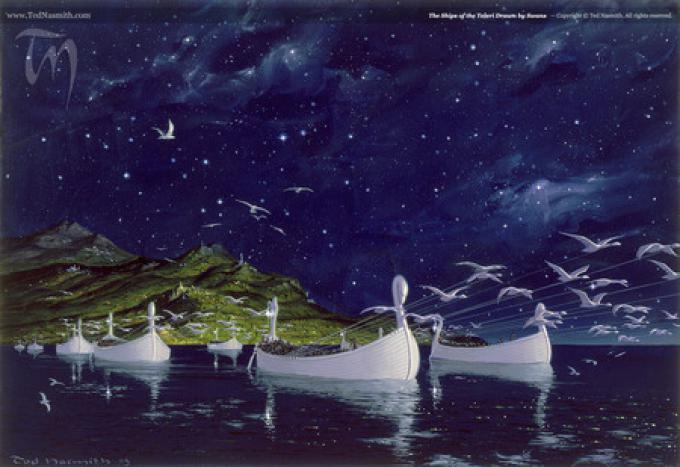 The Ships of the Teleri drawn by Swans - ©Ted Nasmith All Rights Reserved